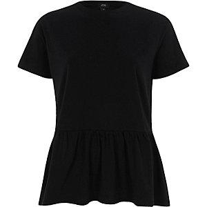 Zwart T-shirt met korte mouwen en peplum