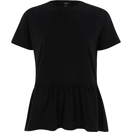 schwarzes kurz rmliges t shirt mit sch chen unifarbene. Black Bedroom Furniture Sets. Home Design Ideas