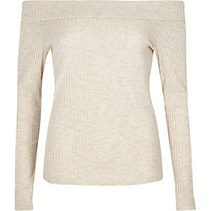 Light brown brushed rib knit bardot top