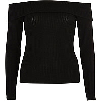 Black rib knit bardot top
