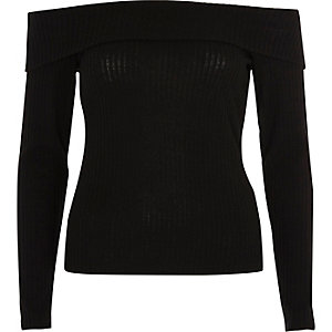 Black brushed rib knit bardot top