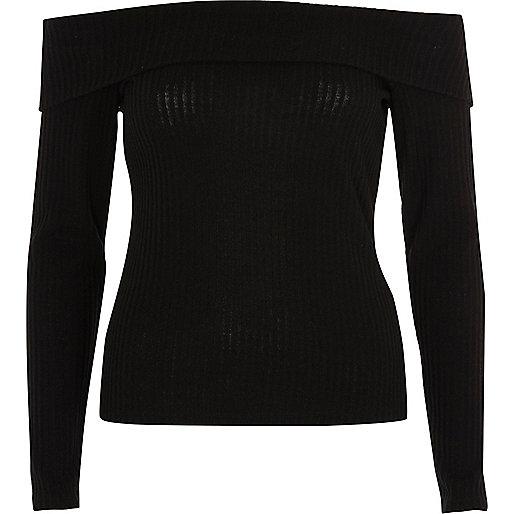 Black brushed rib bardot top