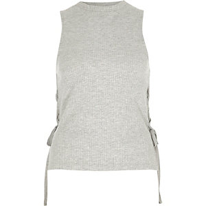 Grey lace-up side tank top