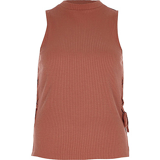 Light brown ribbed lace-up side tank top
