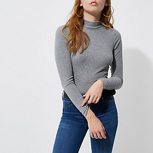 Grey brushed rib knit high neck jumper