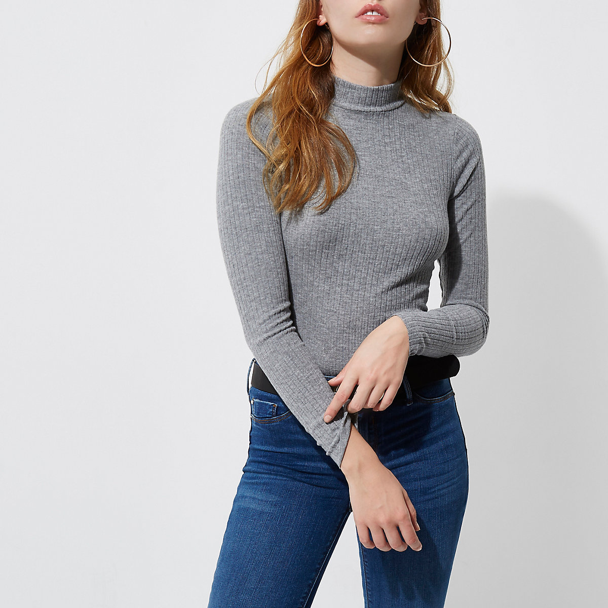 Grey brushed rib high neck fitted top
