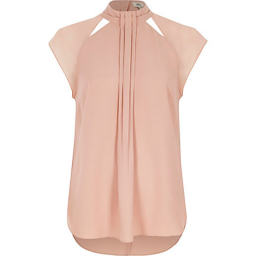 Pink high neck pleat front top