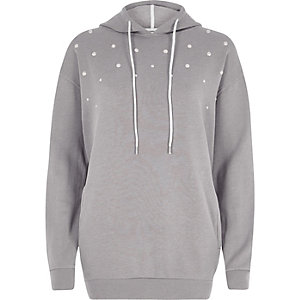 Grey faux pearl embellished hoodie