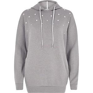 Grijze hoodie met imitatieparels