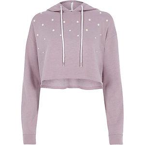 Lichtpaarse cropped hoodie met parels