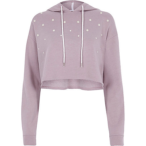 Light purple pearl embellished cropped hoodie