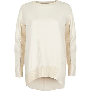 Cream long sleeve ribbed detail sweatshirt