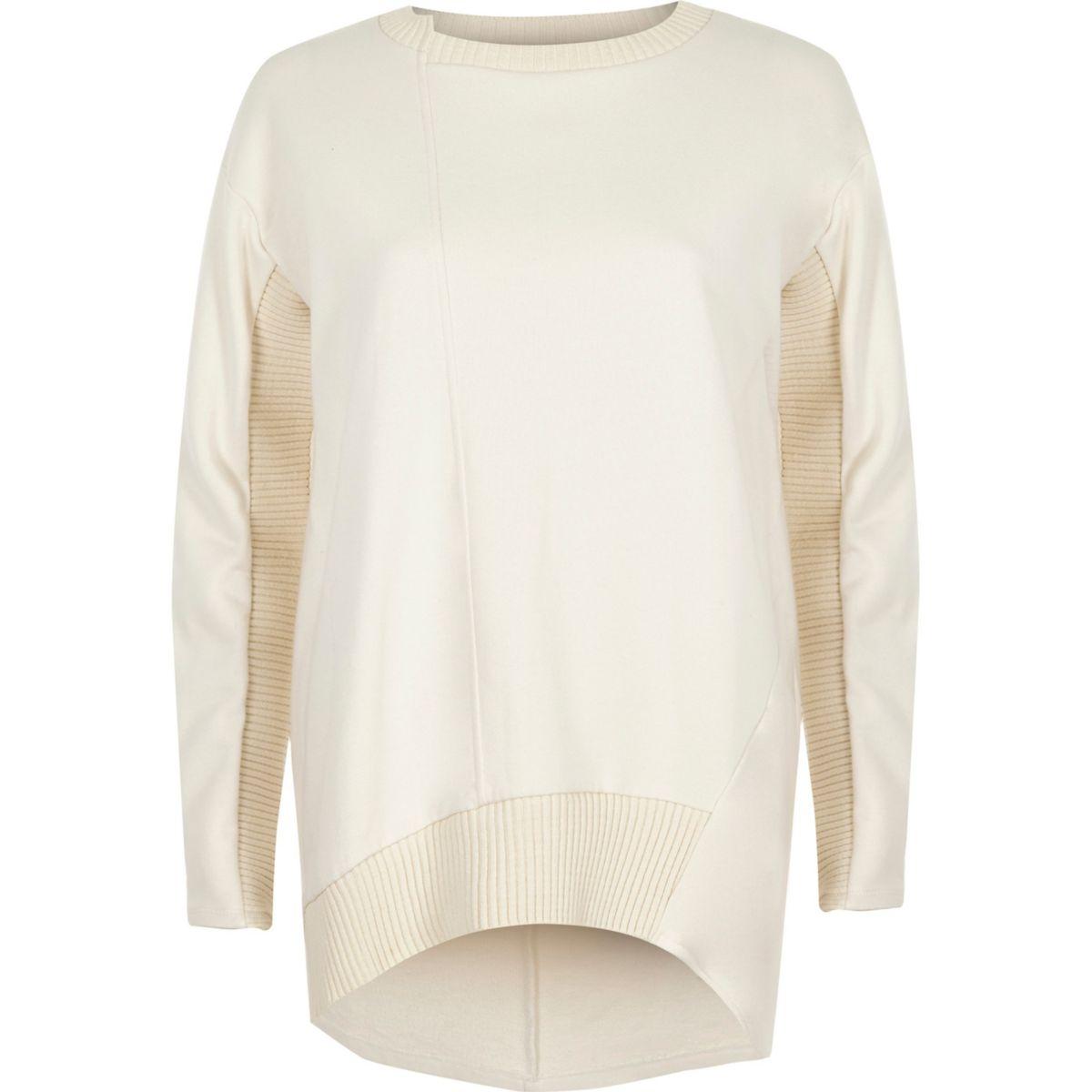 Cream long sleeve ribbed detail sweatshirt