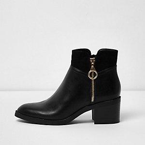 Black wide fit side zip block heel boots