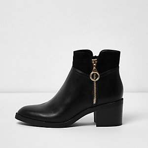 Black faux leather side zip block heel boots