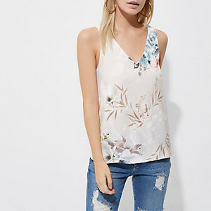 Petite cream floral cross back tank