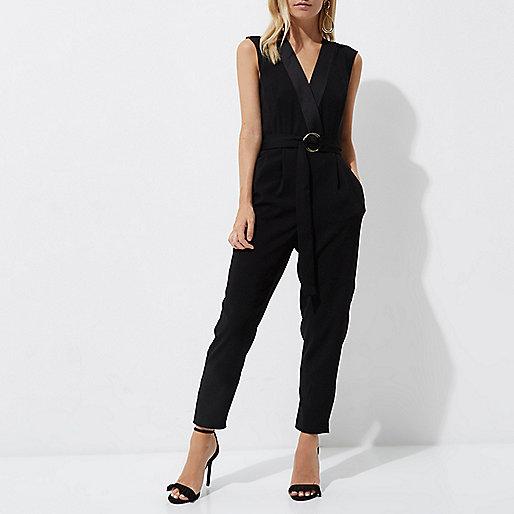 Petite black sleeveless tailored jumpsuit