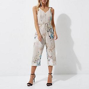 Petite cream floral cami culotte jumpsuit