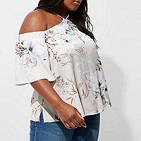 Plus grey floral cold shoulder top