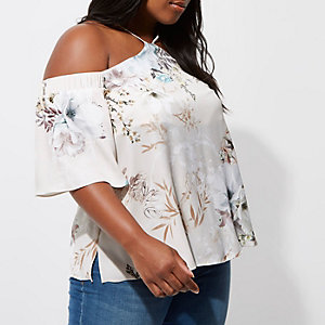 Plus grey floral cold shoulder top