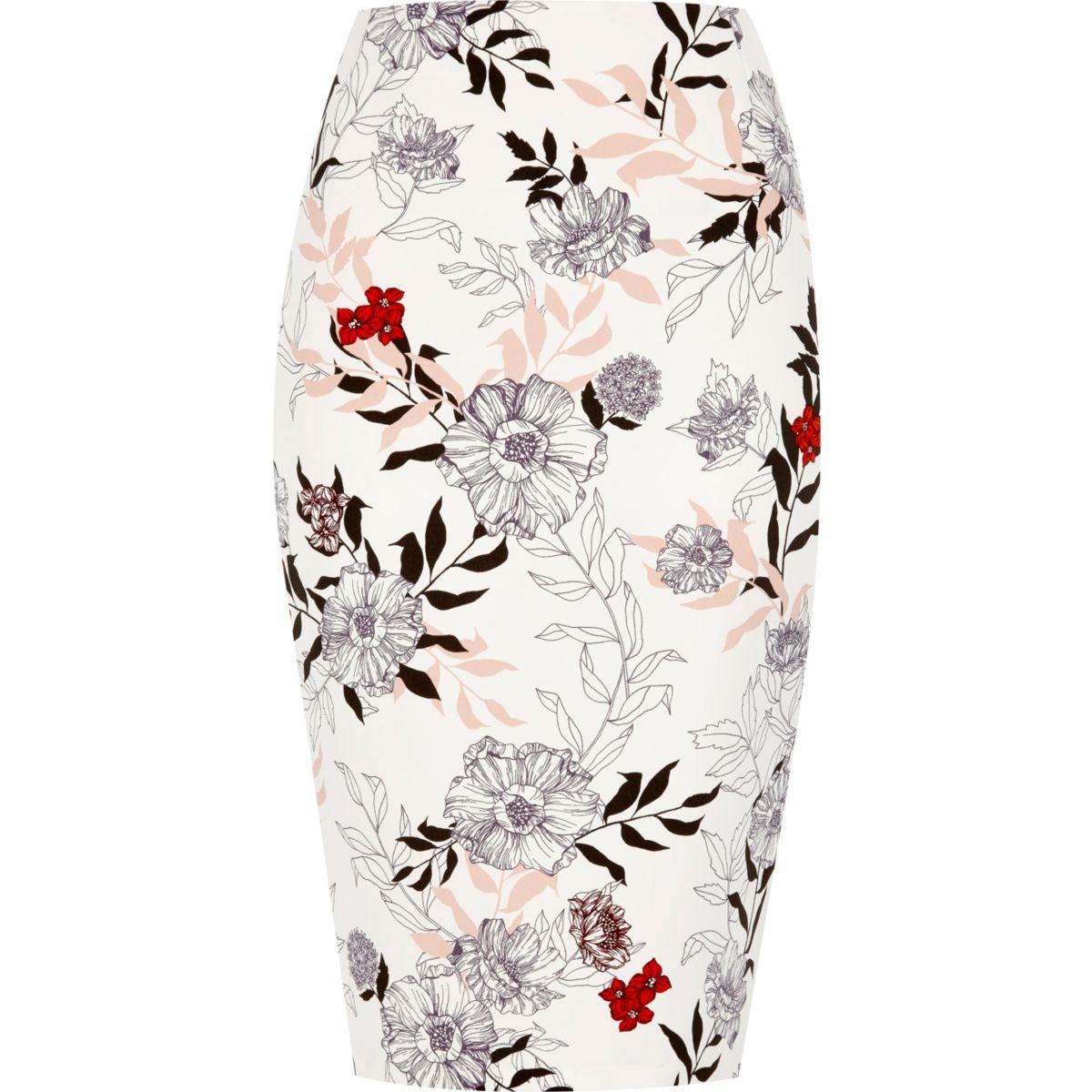 Cream floral print pencil skirt