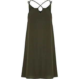 Khaki green cross strap slip dress