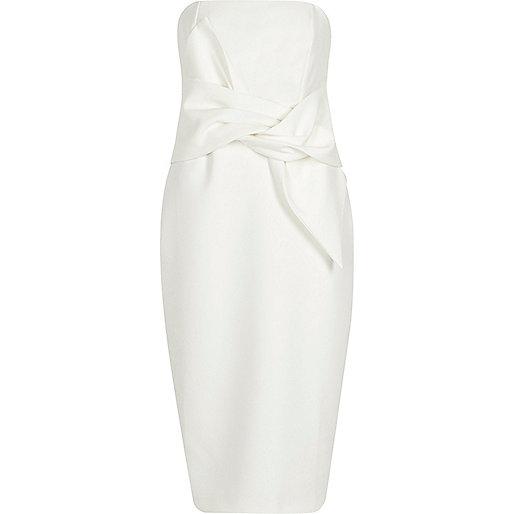 Cream bandeau twist front bodycon midi dress