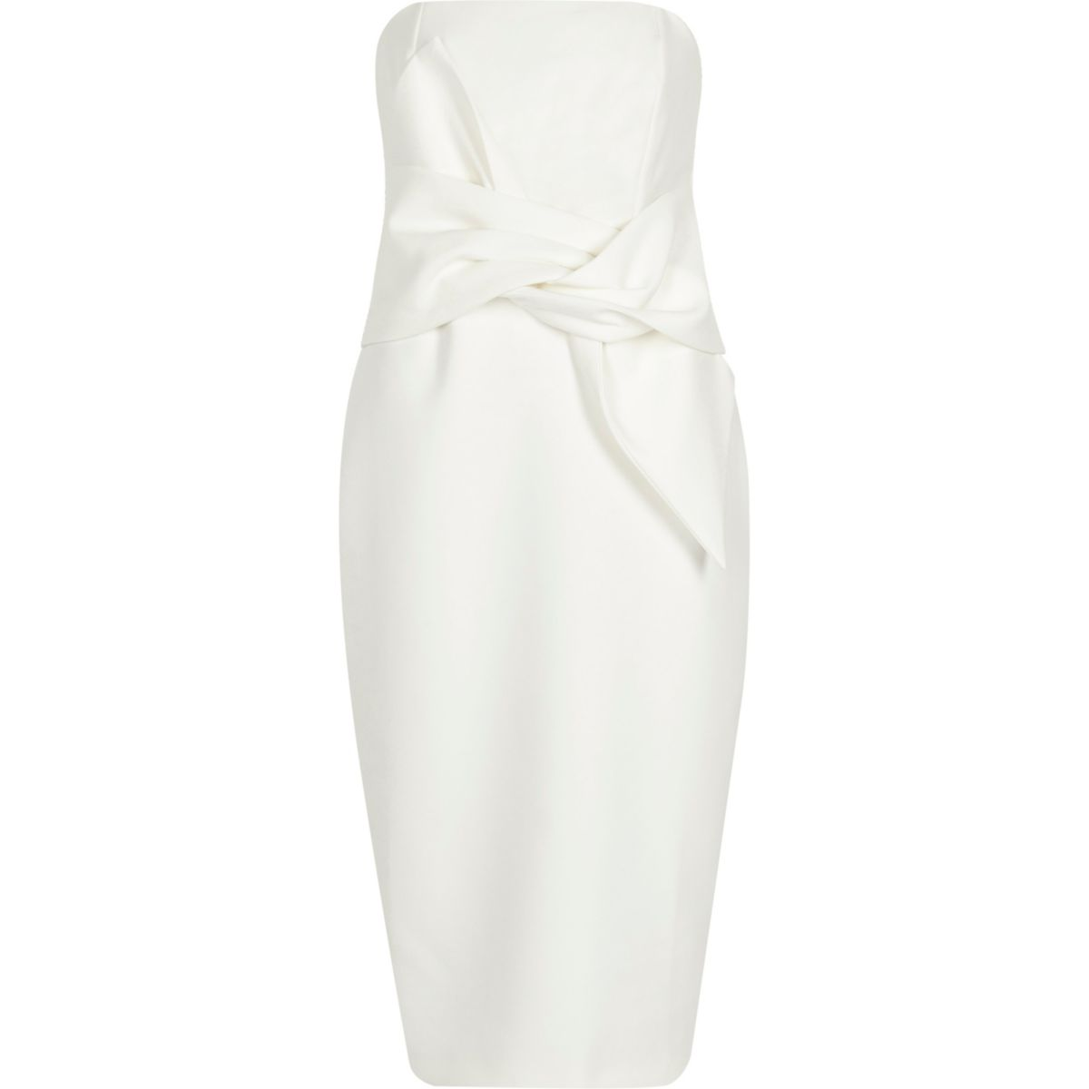 Cream bandeau twist front bodycon midi dress
