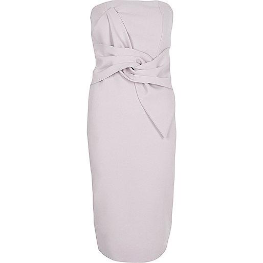 Light purple twist bandeau bodycon dress