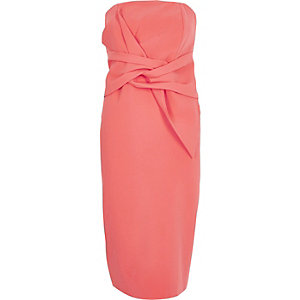Bodycon-Bandeau-Kleid in Koralle