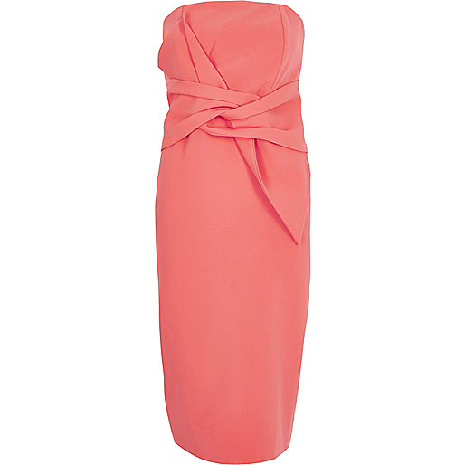 Coral twist bandeau bodycon dress