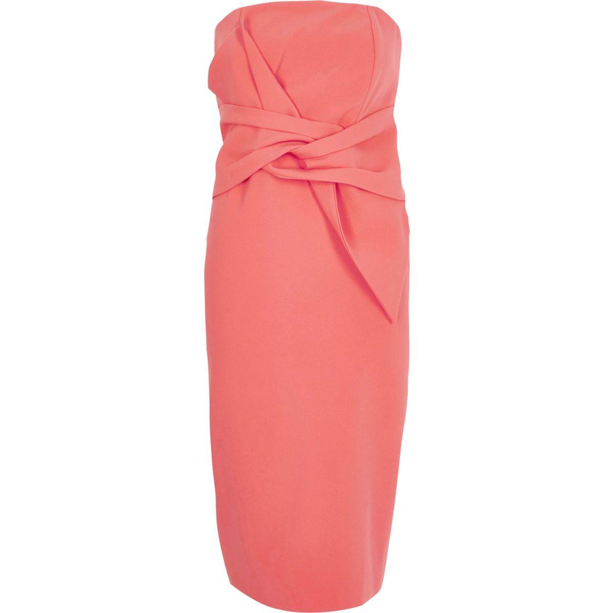 Coral twist bandeau bodycon dress