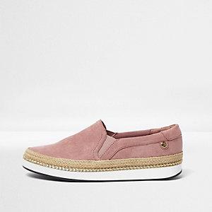 Pink espadrille slip on plimsolls