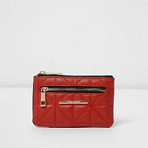 Mini porte-monnaie rouge matelassé