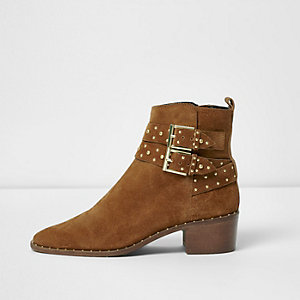 Tan double buckle studded western boots