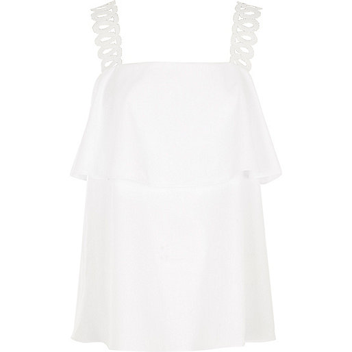 White crochet shoulder strap top