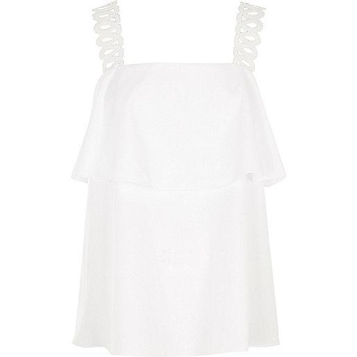 White crochet shoulder strap top