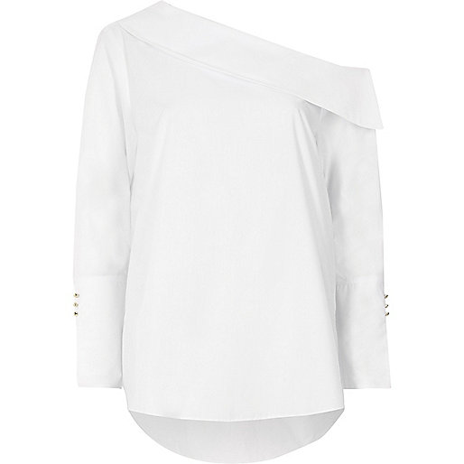 White one shoulder long sleeve top