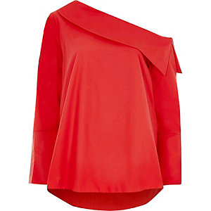 Red one shoulder long sleeve top