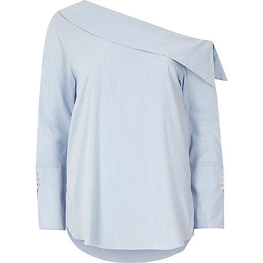 Blue stripe one shoulder long sleeve top