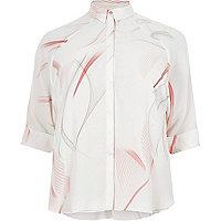 Pink print three quarter sleeve shirt
