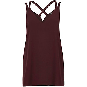 Dark red cross back double strap cami top