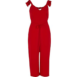 Red frill shoulder belted culotte jumpsuit