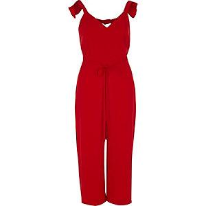 Red frill shoulder belted culotte jumpsuit