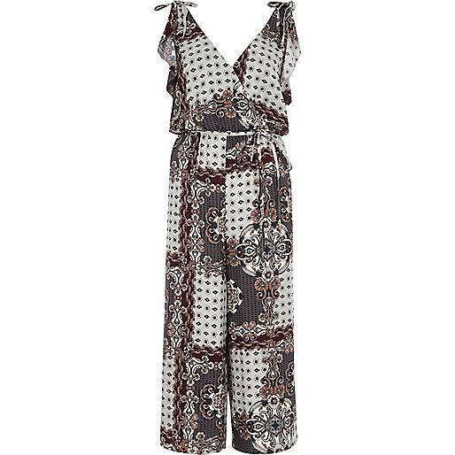 Grey tile print belted culotte jumpsuit