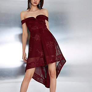 Dark red mesh embroidered high-low midi dress