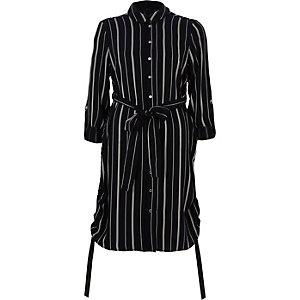 Blusenkleid mit seitlicher Raffung und Streifenmuster