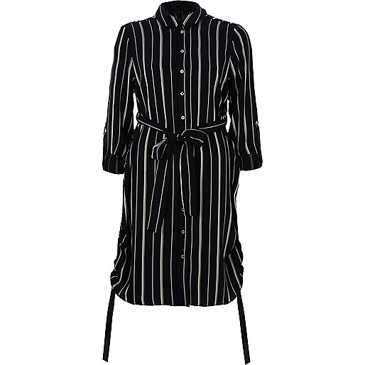 Navy stripe ruched side shirt dress
