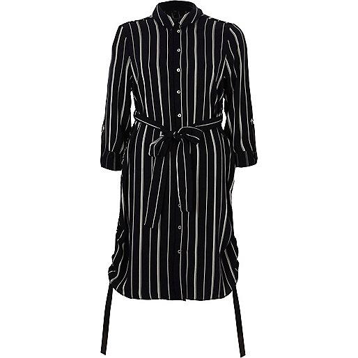 Navy stripe ruched side shirt dress