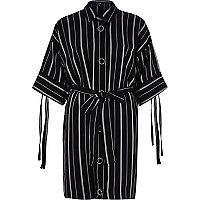 Navy stripe print eyelet shirt dress